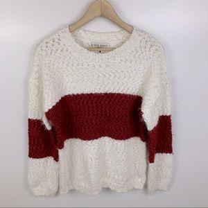 Knox Rose Crewneck Colorblock Pullover Sweater S